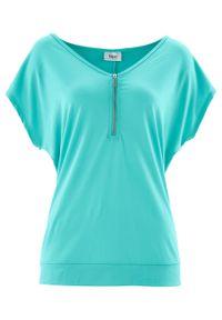 T-shirt z zamkiem, krótki rękaw bonprix zielony oceaniczny. Kolor: zielony. Materiał: elastan, wiskoza, poliester, materiał. Długość rękawa: krótki rękaw. Długość: krótkie