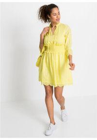 Sukienka z ażurowym haftem bonprix żółty cytrynowy. Kolor: żółty. Wzór: haft, ażurowy
