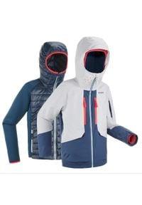 WEDZE - Kurtka narciarska freeride 900 JR 3 w 1. Kolor: wielokolorowy, szary, niebieski. Materiał: materiał. Sport: narciarstwo