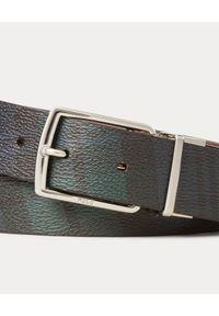Ralph Lauren - RALPH LAUREN - Dwustronny skórzany pasek w kartę. Kolor: brązowy. Materiał: skóra. Wzór: napisy