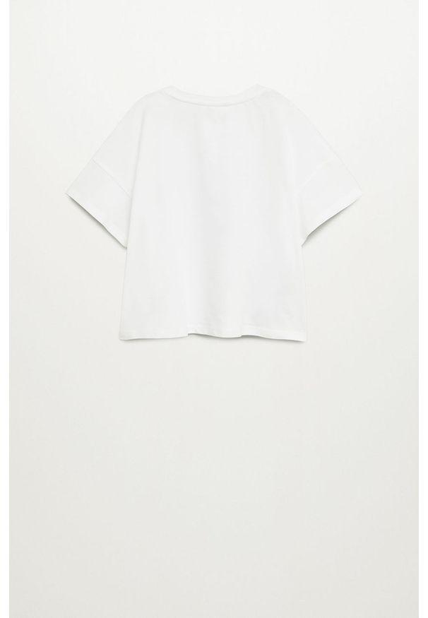 Biała bluzka z krótkim rękawem Mango Kids z aplikacjami, casualowa, z okrągłym kołnierzem, na co dzień
