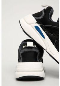 Czarne sneakersy Diesel z okrągłym noskiem, z cholewką, na sznurówki