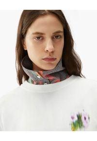 Kenzo - KENZO - Luźny t-shirt Coquelicot. Kolor: biały. Materiał: bawełna. Długość: długie. Wzór: aplikacja