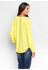 Żółta tunika bonprix długa, z długim rękawem, z dekoltem w serek