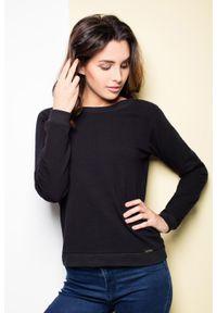 Czarna bluzka z długim rękawem Katrus z dekoltem na plecach