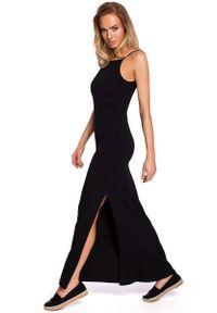 Czarna sukienka dzianinowa MOE na ramiączkach, maxi