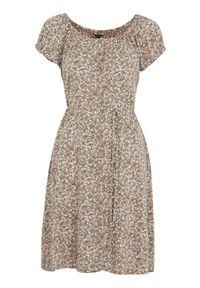 Beżowa sukienka Happy Holly w kwiaty, z krótkim rękawem, na lato