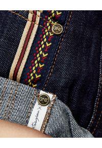 ONETEASPOON - Granatowe spodenki Bandits. Okazja: na co dzień. Stan: podwyższony. Kolor: niebieski. Materiał: bawełna, jeans. Wzór: haft, aplikacja, kolorowy. Styl: sportowy, casual