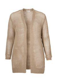 Beżowy sweter Zhenzi elegancki, w ażurowe wzory