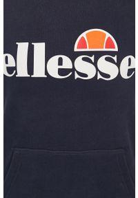 Niebieska bluza Ellesse z nadrukiem, z kapturem, z długim rękawem, na co dzień