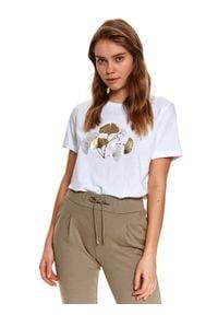 TOP SECRET - T-shirt z nadrukiem. Okazja: do pracy. Kolor: biały. Materiał: tkanina, bawełna. Długość rękawa: krótki rękaw. Długość: krótkie. Wzór: nadruk. Sezon: wiosna. Styl: klasyczny