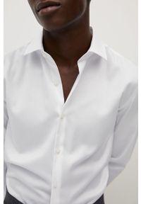 Biała koszula Mango Man elegancka, długa, z włoskim kołnierzykiem, z długim rękawem