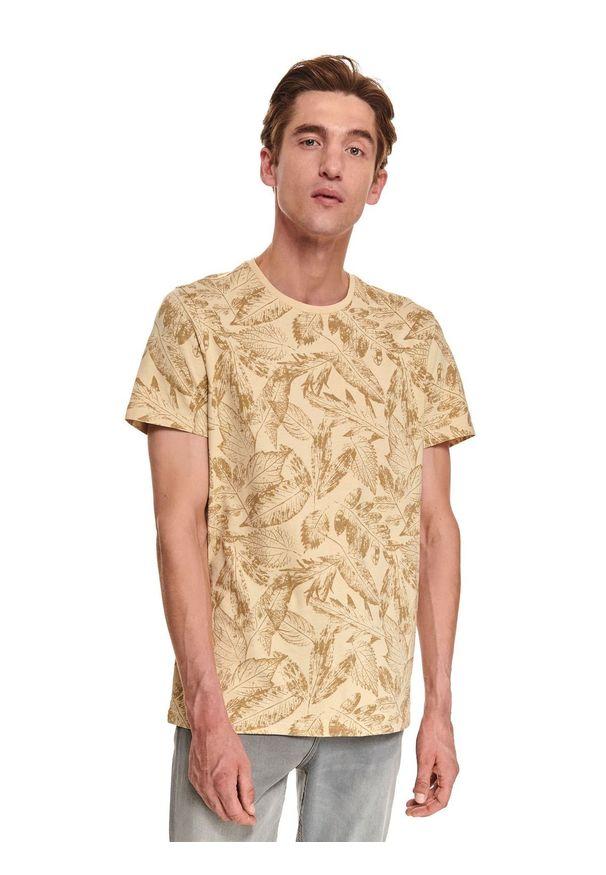 TOP SECRET - T-shirt z nadrukowanym wzorem. Okazja: do pracy. Kolor: beżowy. Materiał: bawełna, tkanina. Długość rękawa: krótki rękaw. Długość: krótkie. Sezon: jesień