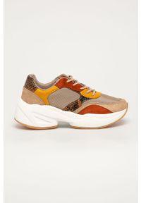 Beżowe buty sportowe Answear Lab na obcasie, na sznurówki