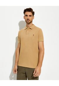 Ralph Lauren - RALPH LAUREN - Beżowa koszulka polo Slim Fit Mesh. Typ kołnierza: polo. Kolor: beżowy. Materiał: mesh. Długość: długie. Wzór: haft