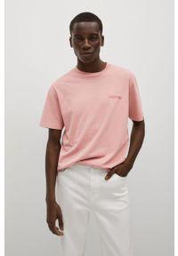 Mango Man - T-shirt bawełniany LIGHTGD. Kolor: różowy. Materiał: bawełna