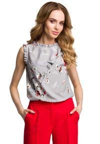 Szara bluzka wizytowa MOE w kwiaty, z falbankami