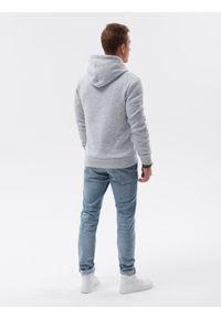 Ombre Clothing - Bluza męska z kapturem B1094 - jasnoszara - XXL. Typ kołnierza: kaptur. Kolor: szary. Materiał: materiał, poliester. Wzór: ze splotem. Styl: elegancki