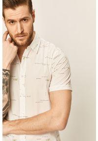 Biała koszula Desigual z klasycznym kołnierzykiem, klasyczna, krótka, na co dzień