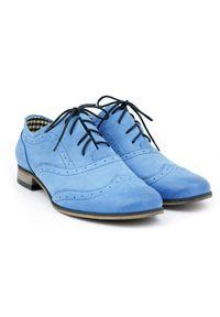 Niebieskie półbuty Zapato na co dzień, wąskie, eleganckie, w kolorowe wzory