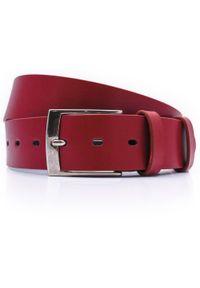 Modini - Czerwony męski pasek do jeansów P41. Kolor: czerwony. Materiał: jeans. Styl: klasyczny, elegancki