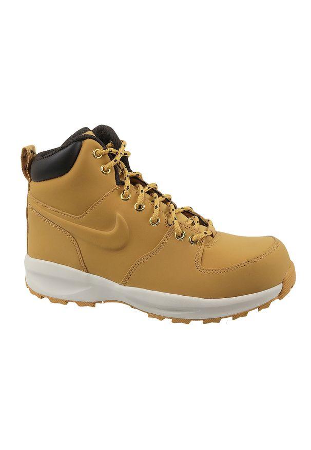 Żółte buty trekkingowe Nike w kolorowe wzory, z cholewką