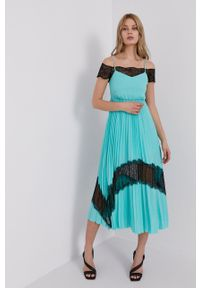 Karl Lagerfeld - Sukienka. Kolor: turkusowy. Materiał: koronka. Typ sukienki: rozkloszowane, plisowane