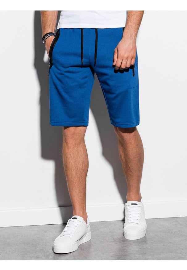 Ombre Clothing - Krótkie spodenki męskie dresowe W239 - niebieskie - XXL. Okazja: na co dzień. Kolor: niebieski. Materiał: dresówka. Długość: krótkie. Wzór: nadruk. Sezon: wiosna, lato. Styl: klasyczny, casual