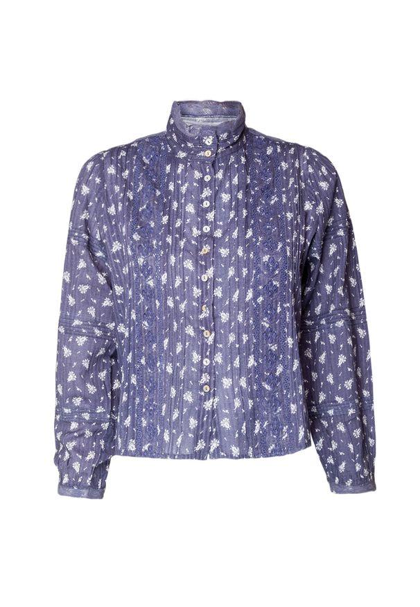 LoveShackFancy - Koszula LOVESHACKFANCY SINCLAIR. Materiał: tkanina, denim, koronka, prążkowany. Wzór: kwiaty, aplikacja, koronka, haft, nadruk