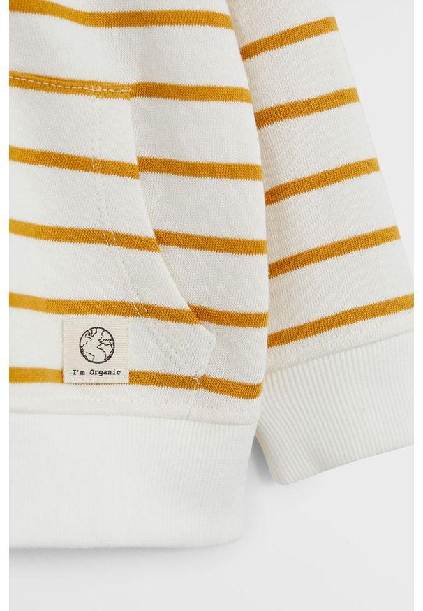 Żółta bluza Mango Kids z kapturem, na co dzień, casualowa