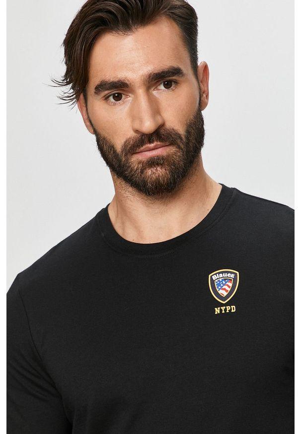 Czarny t-shirt Blauer z okrągłym kołnierzem, z nadrukiem, na co dzień