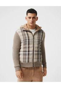 Burberry - BURBERRY - Dzianinowa bluza. Kolor: brązowy. Materiał: dzianina. Długość rękawa: długi rękaw. Długość: długie. Wzór: kratka