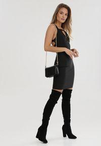 Born2be - Czarna Sukienka Humbletide. Typ kołnierza: dekolt kwadratowy. Kolor: czarny. Długość rękawa: na ramiączkach. Wzór: paski. Długość: mini