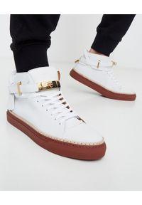 BUSCEMI - Białe sneakersy ze skóry 100MM. Kolor: biały. Materiał: skóra. Szerokość cholewki: normalna. Wzór: aplikacja
