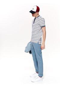 Niebieski t-shirt TOP SECRET polo, w paski, krótki, z krótkim rękawem