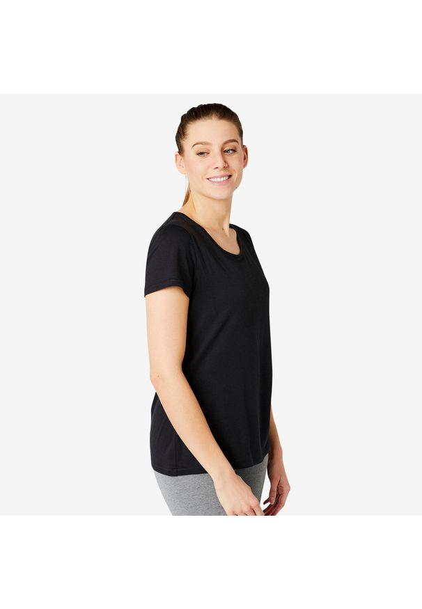 NYAMBA - Koszulka krótki rękaw fitness. Kolor: czarny. Materiał: elastan, poliester, materiał, lyocell, bawełna. Długość rękawa: krótki rękaw. Długość: krótkie. Sport: fitness