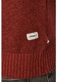 Brązowy sweter PRODUKT by Jack & Jones z okrągłym kołnierzem