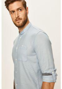 Niebieska koszula Tom Tailor Denim na co dzień, długa, ze stójką, casualowa
