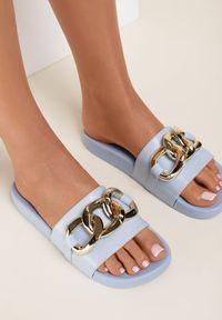 Renee - Niebieskie Klapki Cirikaia. Nosek buta: okrągły. Kolor: niebieski. Materiał: materiał, guma. Styl: klasyczny
