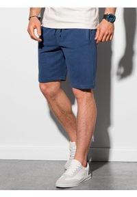 Ombre Clothing - Krótkie spodenki męskie dresowe W291 - ciemnoniebieskie - XXL. Kolor: niebieski. Materiał: dresówka. Długość: krótkie. Styl: klasyczny