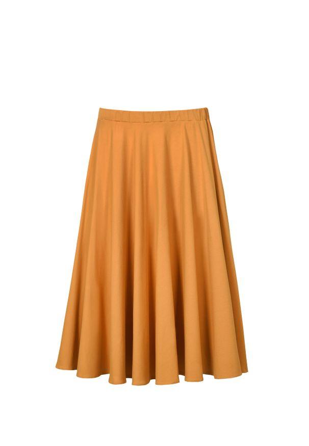 Żółta spódnica VEVA melanż, na jesień, do pracy