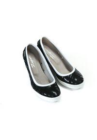 Czarne półbuty Zapato na spotkanie biznesowe, w kolorowe wzory, sportowe, wąskie