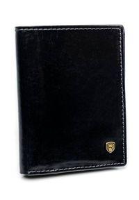 ROVICKY - Etui na karty czarne Rovicky TW-01-RVT BLACK. Kolor: czarny. Materiał: skóra. Wzór: gładki