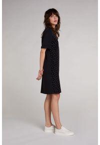 Czarna sukienka z krótkim rękawem, w kropki, midi