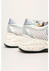 Białe buty sportowe Badura z cholewką, na sznurówki, z okrągłym noskiem