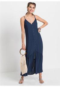 Długa sukienka bonprix głęboki niebieski. Typ kołnierza: dekolt w serek. Kolor: niebieski. Sezon: lato. Długość: maxi