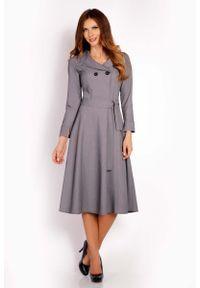 Lou-Lou - Szara Sukienka Midi z Wykładanym Kołnierzem. Kolor: szary. Materiał: elastan, poliester, wiskoza. Długość: midi