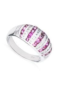Braccatta - ARIA Pierścionek srebrny obrączka różowe szafiy. Materiał: srebrne. Kolor: srebrny, różowy, wielokolorowy. Wzór: geometria. Kamień szlachetny: szafir