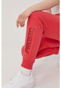 Czerwone spodnie dresowe Prosto. z nadrukiem