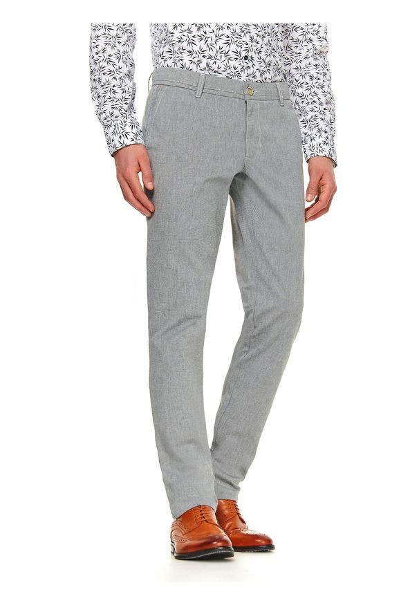 Szare spodnie TOP SECRET w kolorowe wzory, casualowe, długie, na co dzień